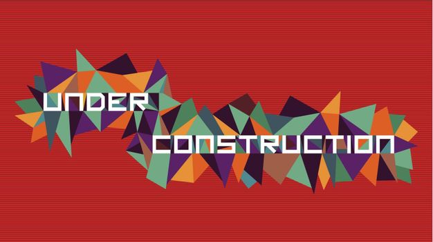 Trendy under construction  flat text over retro triangle composition background. Vector file layered for easy manipulation and custom coloring.