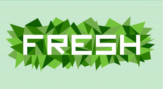 Trendy fresh flat text over retro triangle composition background. Vector file layered for easy manipulation and custom coloring.