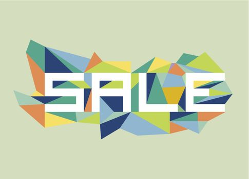 Trendy sale flat text over retro triangle composition background. Vector file layered for easy manipulation and custom coloring.