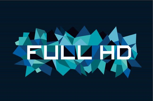Trendy full hd flat text over retro triangle composition background. Vector file layered for easy manipulation and custom coloring.