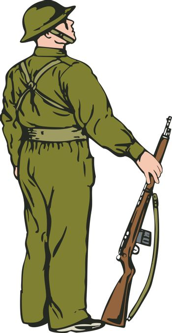Illustration of a soldier on guard isolated on white background done in retro style.