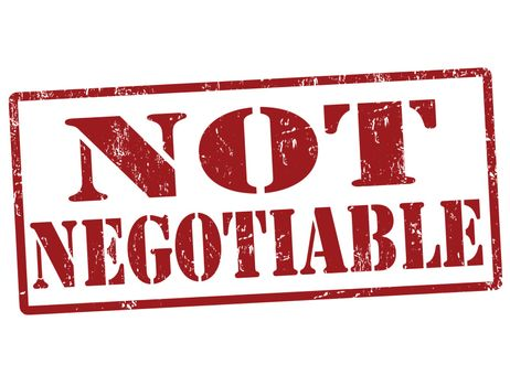 Not negotiable grunge rubber stamp over a white background, vector illustration