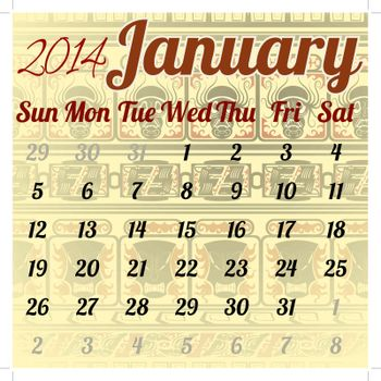 Calendar for January in the African style