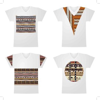 Set of white T-shirts with drawings of African-style