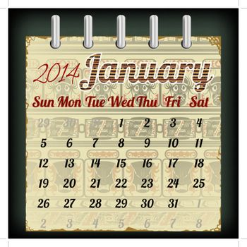 Calendar for January 2014 with an African  background