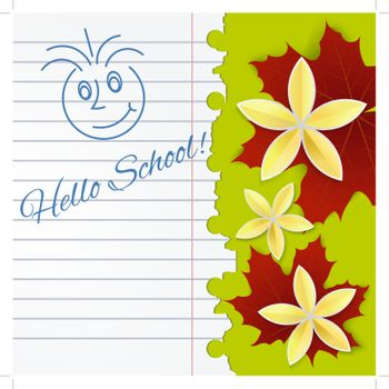 Sheet of school notebook with flowers and  leaves of maple
