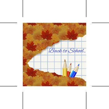 Abstract autumn background with maple leaves and pencils