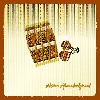 Vintage background with African drum and maracas