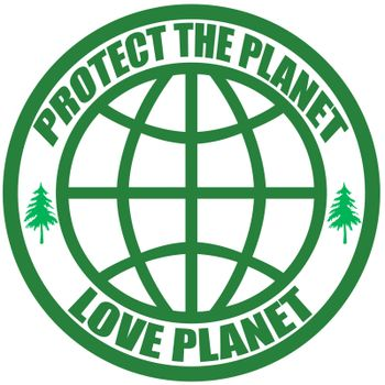 Stamp with text protect the planet inside, vector illustration