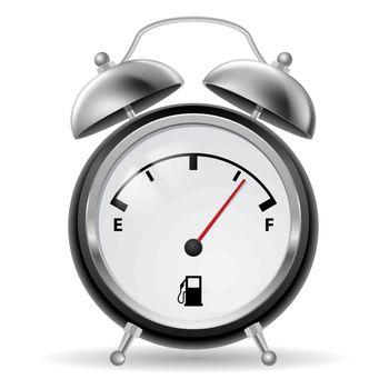 Black-and-white fuel indicator in creative retro alarm clock design. Illustration on white.