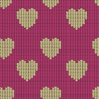 seamless knitted background with hearts. EPS 10 vector illustration.