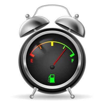 Fuel indicator in creative retro alarm clock design. Colorful signs on black face. Illustration on white.