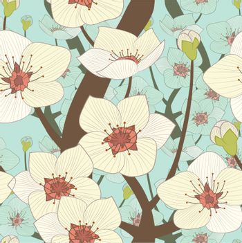 vector seamless pattern, illustration of blooming  tree