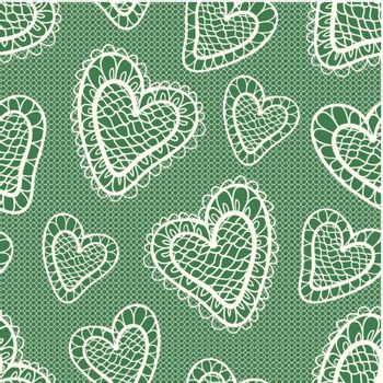 Vector seamless pattern with stylized hearts. Lace
