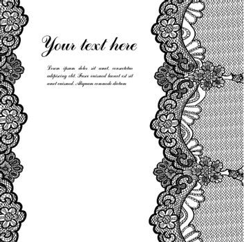 black lace on white background and place for your text