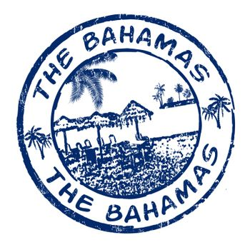 Blue grunge rubber stamp with the name of The Bahamas islands written inside, vector illustration