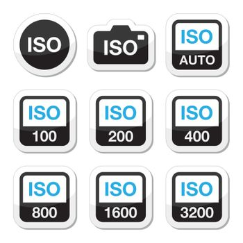 Camera ISO settings vector black and blue labels set isolated on white