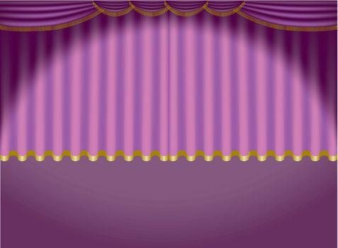 Violet Curtains - Colored Background Illustration, Vector