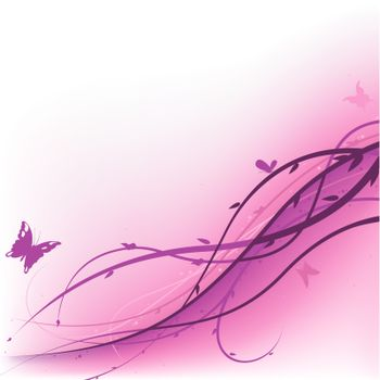 Violet Floral - Colored Abstract Illustration, Vector