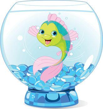 Illustration of Cute Cartoon Fish in Aquarium