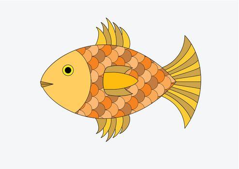 Illustration of a goldfish isolated on a white background