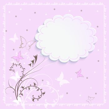 Beautiful card with a floral pattern in pink with a place for an inscription