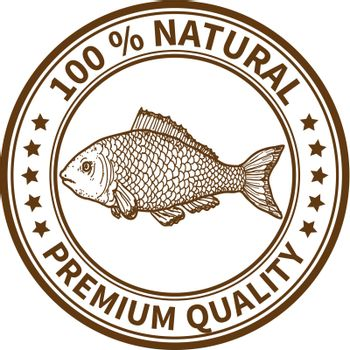 Stamp with the fish and the text 100% natural, premium quality