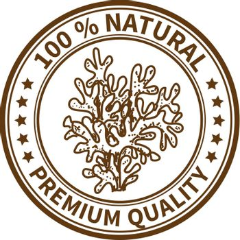 Stamp with the coral and the text 100% natural, premium quality
