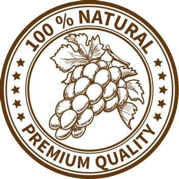 Stamp with the grape and the text 100% natural, premium quality