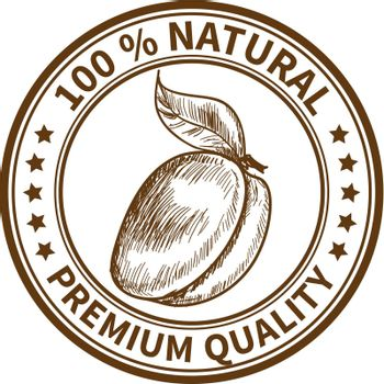 Stamp with the plum and the text 100% natural, premium quality
