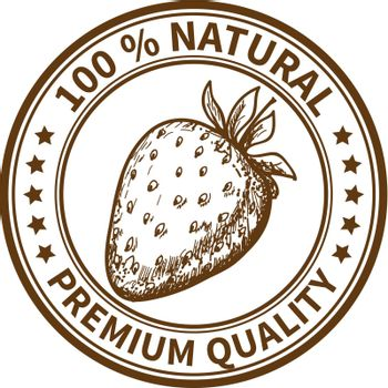 Stamp with the strawberry and the text 100% natural, premium quality