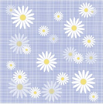 Fabric with daisies. Vector illustration