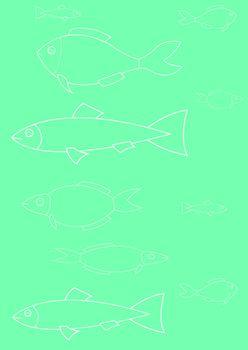 vector illustration Marine life on a turquoise background