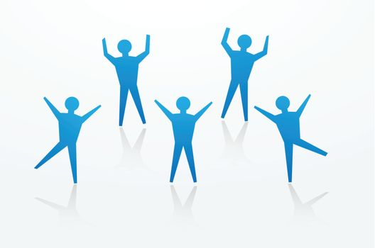 paper man cutouts in dancing and cheering pose, to illustrate happy news.