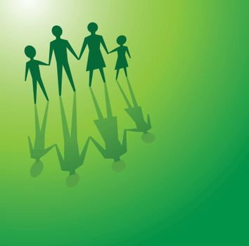 to illustrations a family in a green background, for environmental concepts.