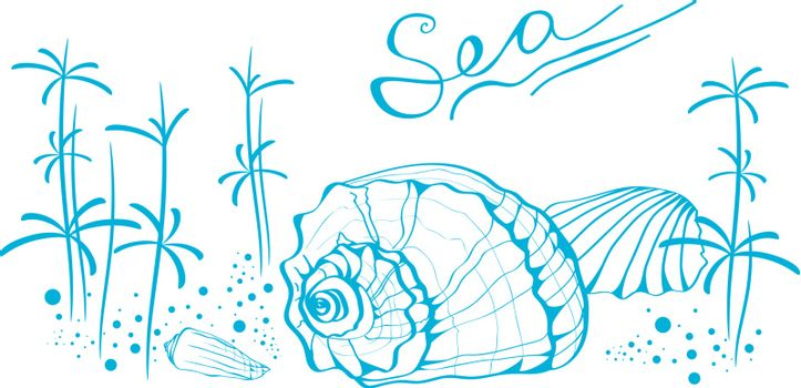 """Illustration of Abstract Sea Life With Copyspace For Your Text (""""Sea"""" is Written With My Own Font)"""