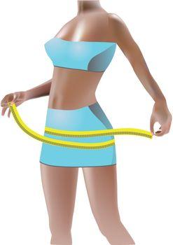 girl measuring perfect shape of beautiful hips