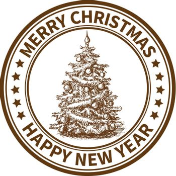 Christmas and New Year stamp with the Christmas tree