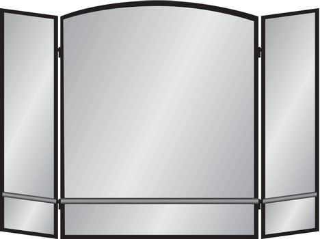 Three Pane arch screen with two lines for the fireplace. Vector illustration.