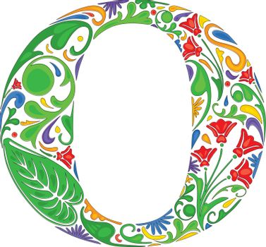 Colorful floral initial capital letter O