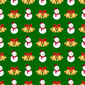 Christmas seamless background with snowman and bells