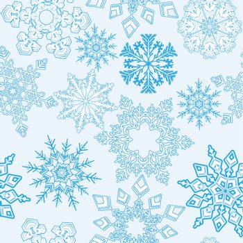Seamless snowflakes background for winter.