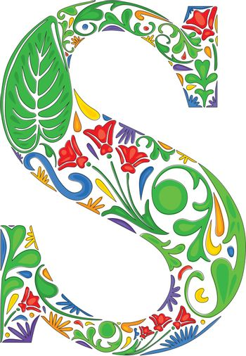 Colorful floral initial capital letter S