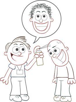 Cartoon salesman telling man he will grow hair with sprayer.