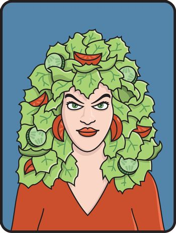 Vector Illustration of woman with salad hair.