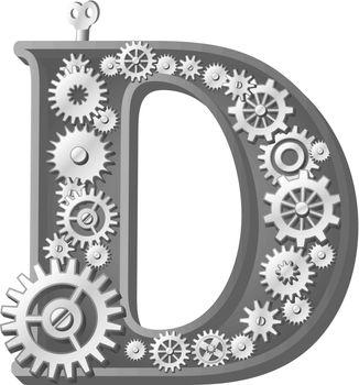 Mechanical alphabet made from gears. Letter d