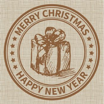 Christmas and New Year stamp with the gift box