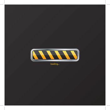 Striped loading progress indicator on black background