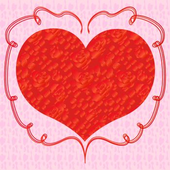 Heart with pink roses on a pink background, hand drawing Valentines vector illustration