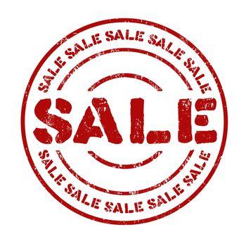 Sale grunge rubber stamp on white, vector illustration